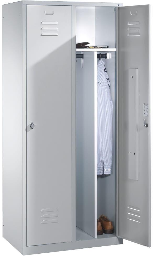 Metalowa szafa ubraniowa 2-drzwiowa z przegrodą stałą na odzież czystą i brudną - szer. 81 cm