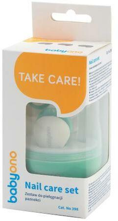 Babyono zestaw do pielęgnacji paznokci dla dzieci i niemowląt zielony 1 komplet [398/01]