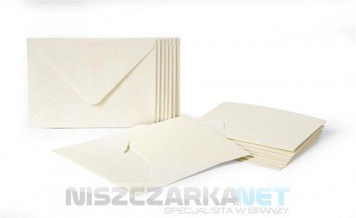 PAPETERIA baza kremowa do zaproszeń A6 + C6 opakowanie 10 szt kart + 10 szt kopert