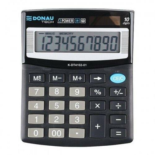 Kalkulator 10 pozycyjny DONAU TECH K-DT4102-01 125x100x27mm czarny /K-DT4102-01/