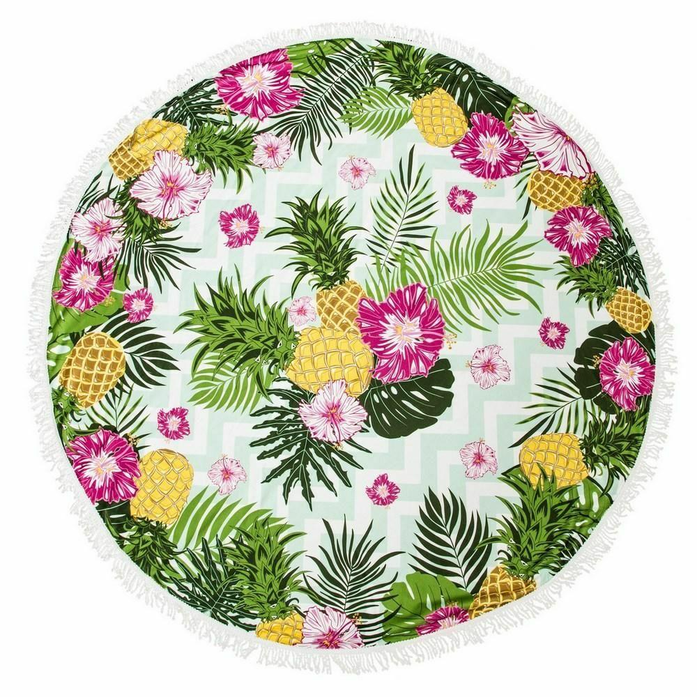 Ręcznik plażowy 150 okrągły Havana 04 ananasy 250g/m2 Eurofirany