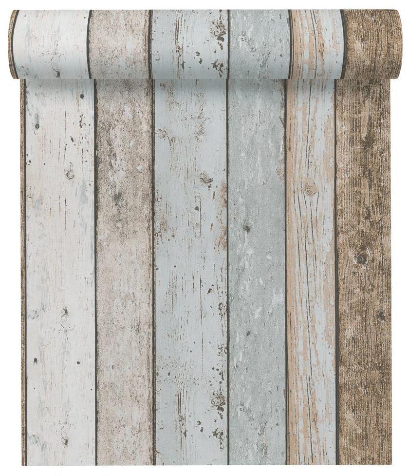 Tapeta Drewno brązowo-niebieska imitacja deski papierowa