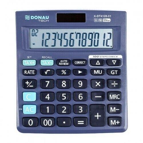 Kalkulator 12 pozycyjny DONAU TECH K-DT4128-01 140x122x22mm czarny /K-DT4128-01/