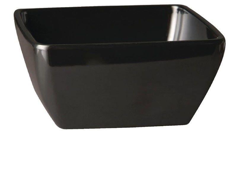 Czarna, kwadratowa miska z melaminy APS Pure 190mm