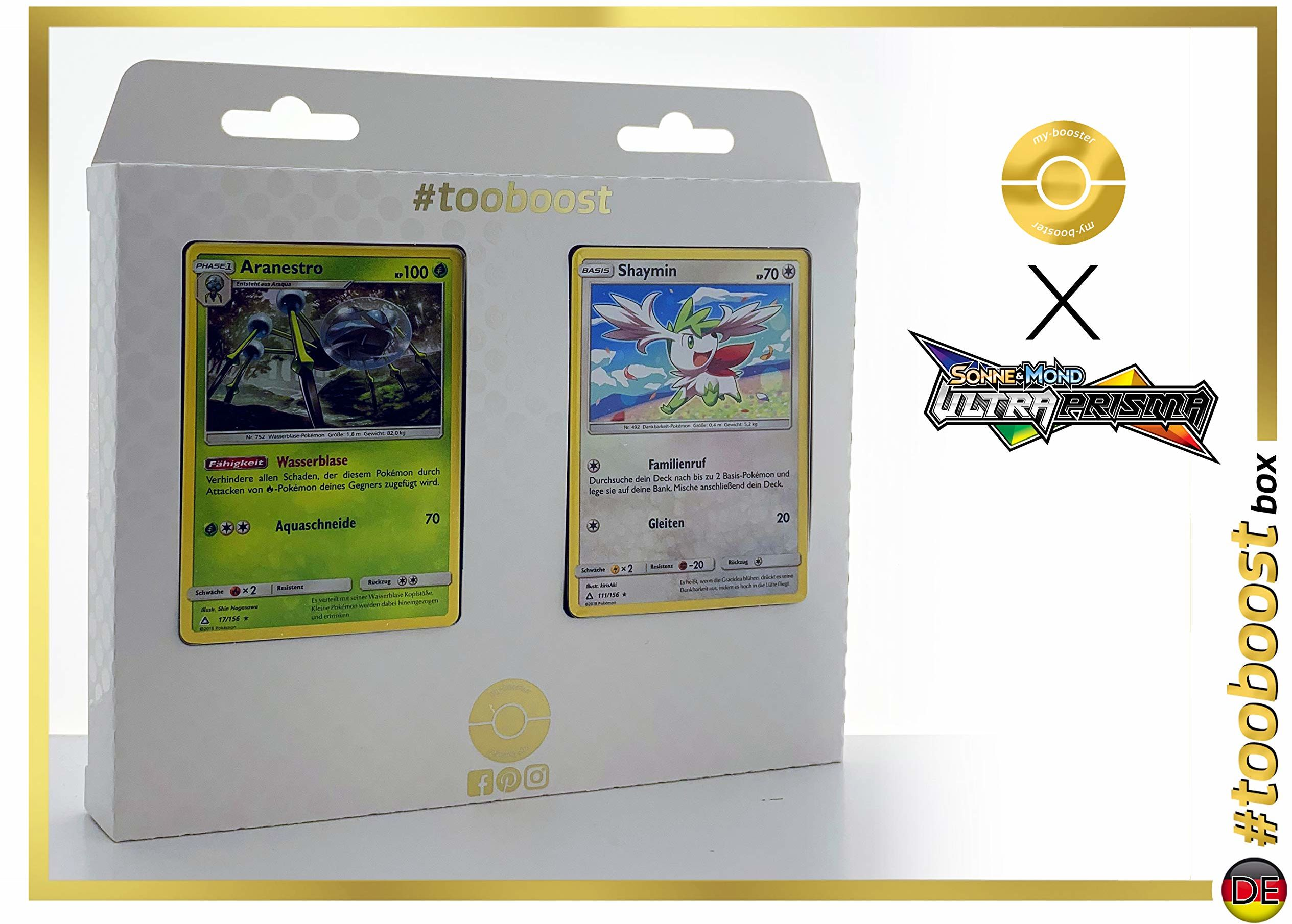 Aranestro (trarenbulle) 17/156 i Shaymin 111/156 - #tooboost X słońce i księżyc 5 ultra pryzmatów - zestaw z 10 niemieckimi kartami Pokémon + 1 Goodie Pokémon.