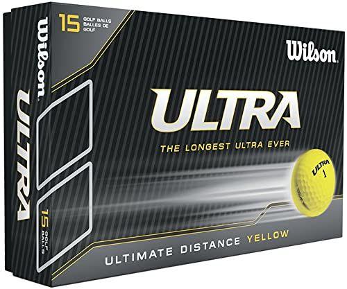 Wilson, twarde 2-częściowe piłki golfowe męskie na dalekie odległości, opakowanie 15 sztuk, dla początkujących i zaawansowanych, wysoka kompresja, jonomer, Ultra Lue, żółte, WGWR60600