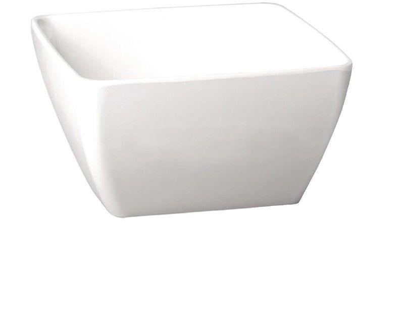 Biała, kwadratowa miska z melaminy APS Pure 250mm