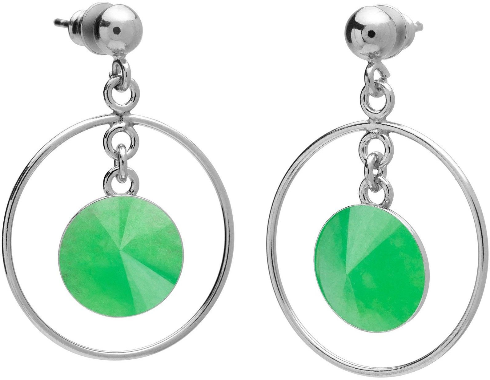 Okrągłe kolczyki z naturalnym kamieniem, chryzopraz, srebro 925 : Kamienie naturalne - kolor - chryzopraz zielony ciemny, Srebro - kolor pokrycia - Pokrycie platyną
