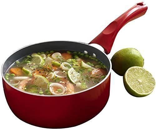 Prestige garnek do gotowania, z powłoką ceramiczną, nadaje się do kuchenek indukcyjnych, 20 cm, czerwony