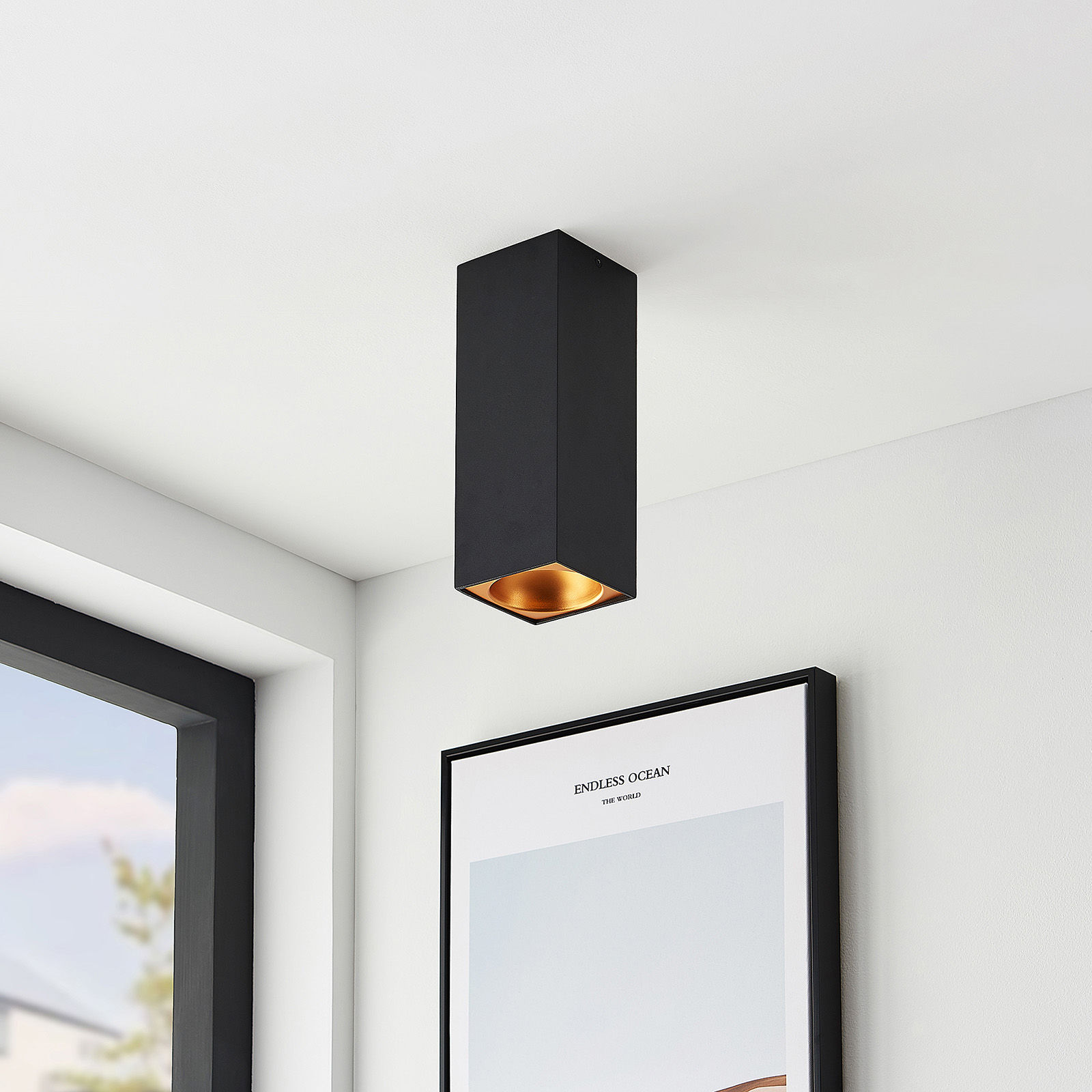 Arcchio Hinka lampa sufitowa kątowa 25,4 cm czarna