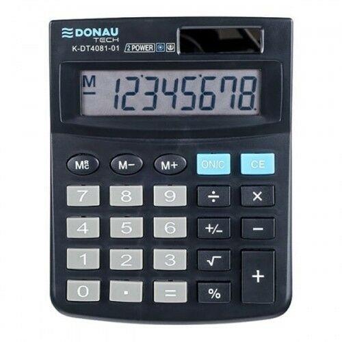 Kalkulator 8 pozycyjny DONAU TECH K-DT4081-01 134x104x17mm czarny /K-DT4081-01/