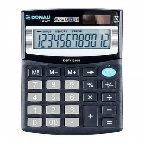 Kalkulator 12 pozycyjny DONAU TECH K-DT4124-01 125x100x27mm czarny /K-DT4124-01/