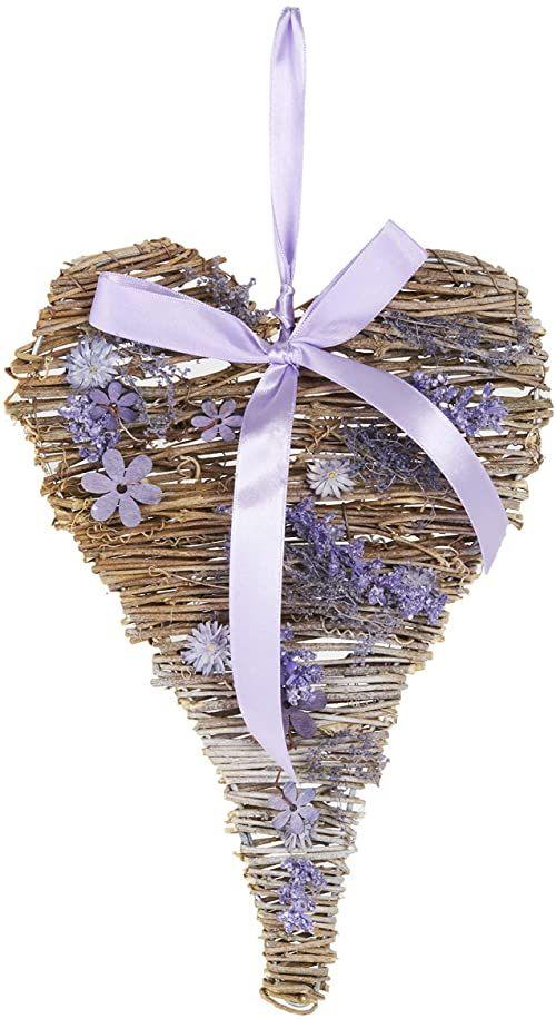 Heitmann Deco wianek w kształcie serca, fioletowy, wieniec na drzwi, wieniec ścienny, do powieszenia, na okno, uchwyt