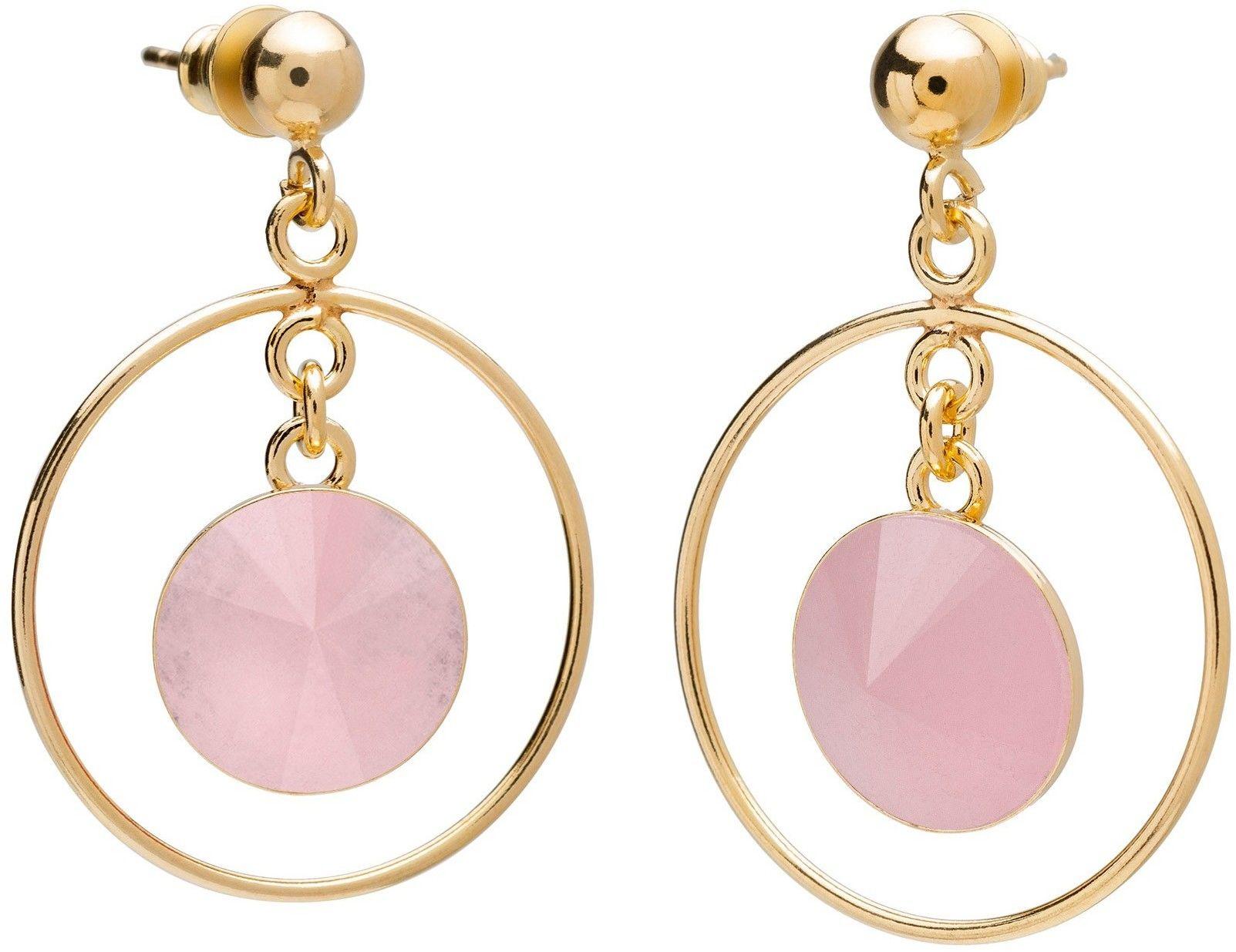 Okrągłe kolczyki z kwarcem, srebro 925 : Kamienie naturalne - kolor - kwarc różowy, Srebro - kolor pokrycia - Pokrycie żółtym 18K złotem