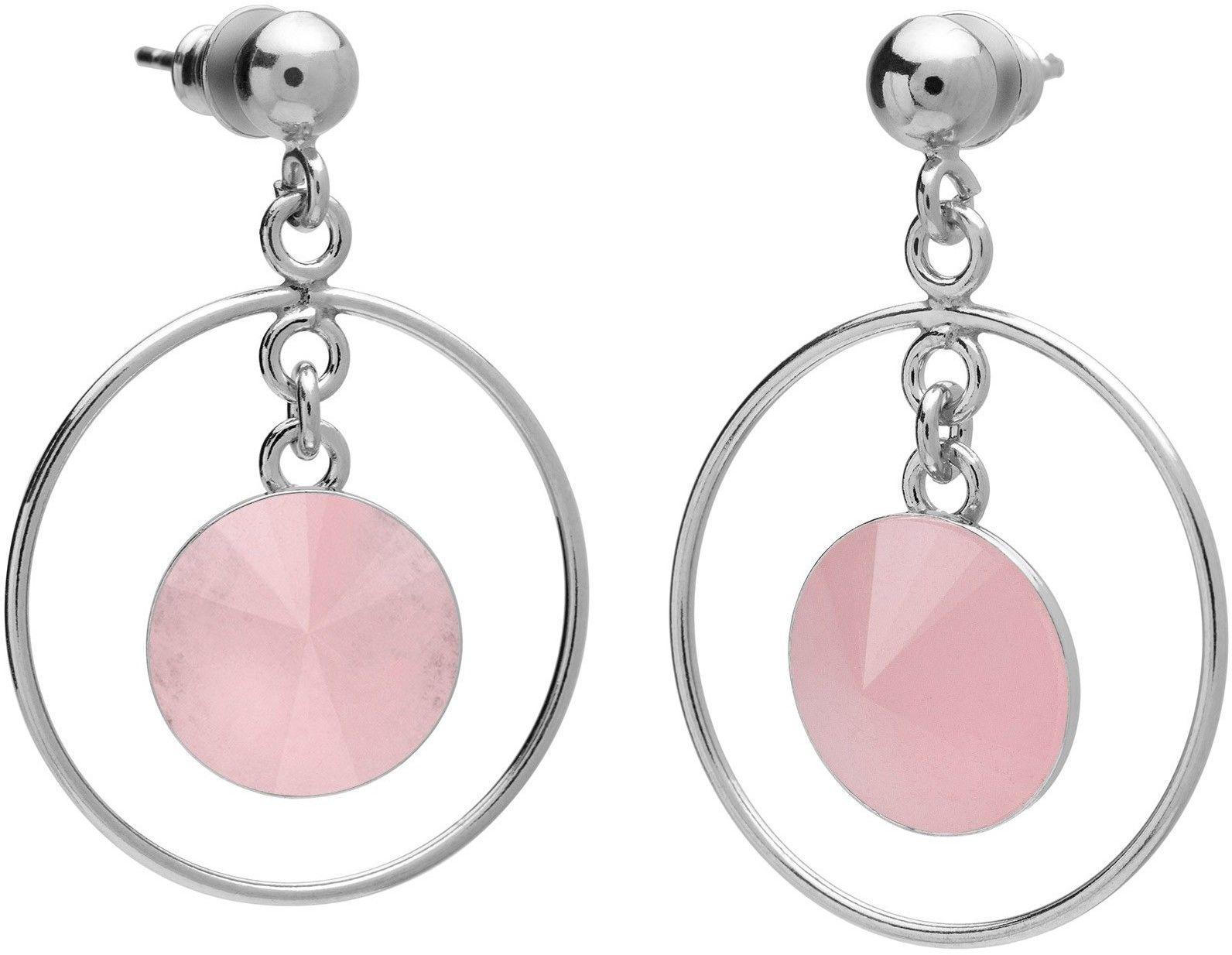 Okrągłe kolczyki z kwarcem, srebro 925 : Kamienie naturalne - kolor - kwarc różowy, Srebro - kolor pokrycia - Pokrycie platyną