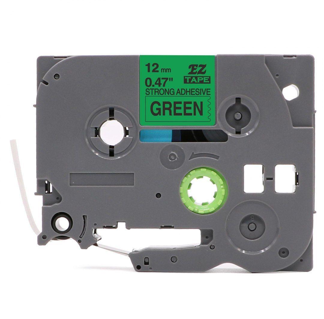 Taśma Brother TZe-S731 mocny klej 12mm x 8m zielona czarny nadruk - zamiennik OSZCZĘDZAJ DO 80% - ZADZWOŃ!