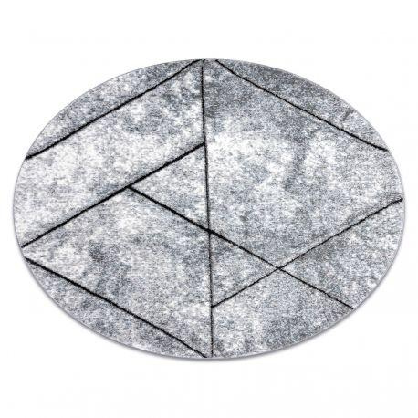 Dywan nowoczesny COZY 8872 Koło Wall, geometryczny, trójkąty - Strukturalny, dwa poziomy runa szary / niebieski koło 120 cm