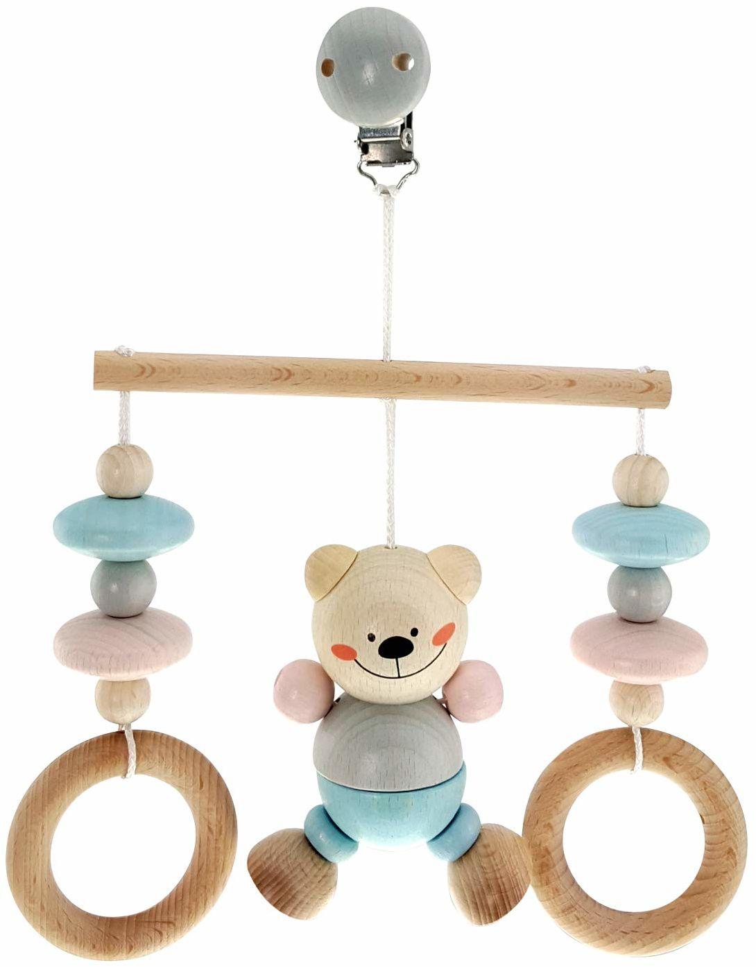 Hess drewniana zabawka 13517 - minitrapez z drewna, niedźwiedź naturalny, do zawieszenia na łóżku, wózku dziecięcym lub foteliku dla niemowląt, ok. 17 x 12 x 5,5 cm