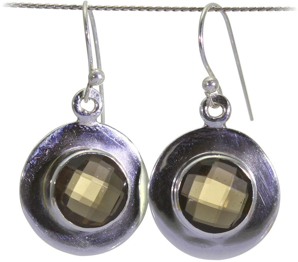 Kuźnia Srebra - Kolczyki srebrne, 28mm, Kwarc Dymny, 5g, model