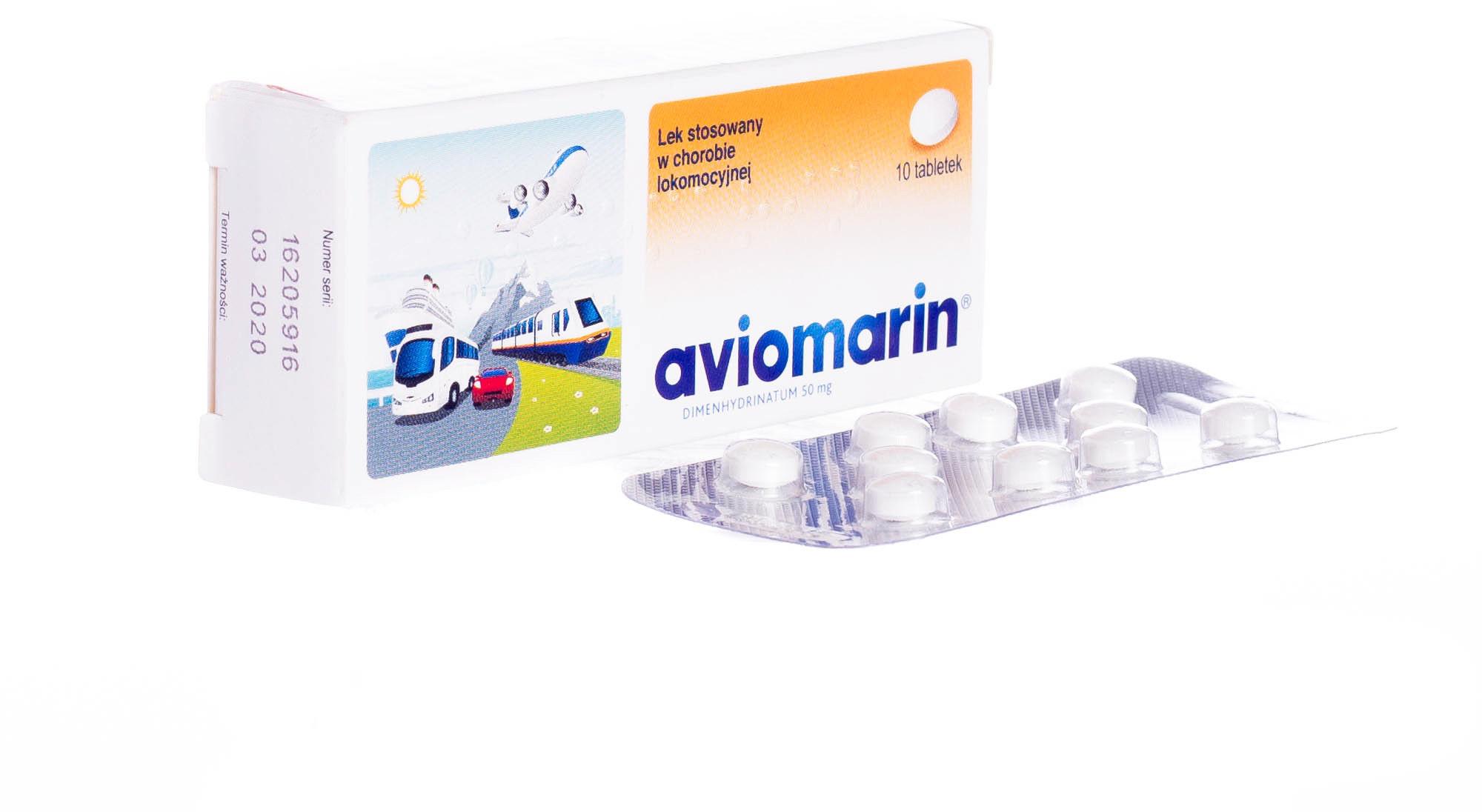 Aviomarin lek stosowany w chorobie lokomocyjnej, 10 tabletek