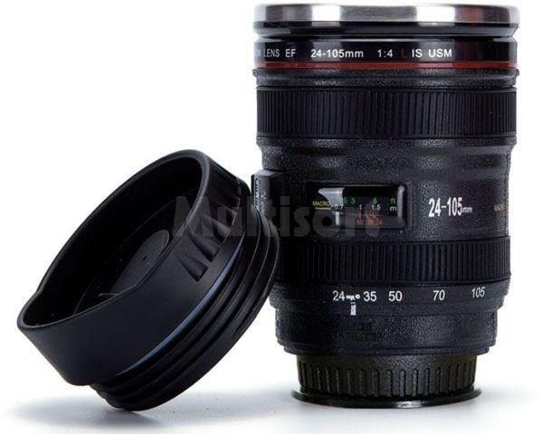 Kubek termiczny w kształcie obiektywu z przyssawką - Lens Cup