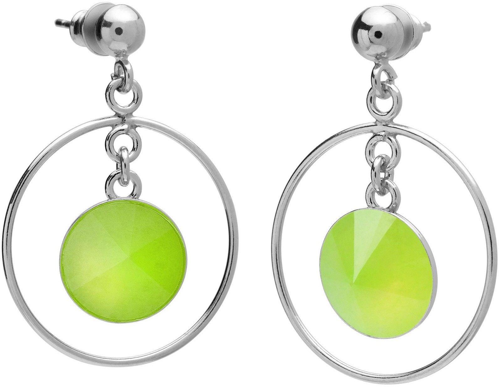 Okrągłe kolczyki z naturalnym kamieniem, chryzopraz, srebro 925 : Kamienie naturalne - kolor - chryzopraz zielony jasny, Srebro - kolor pokrycia - Pokrycie platyną