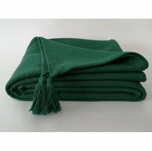 Bawełniany pled z chwostami butelkowa zieleń 160x200