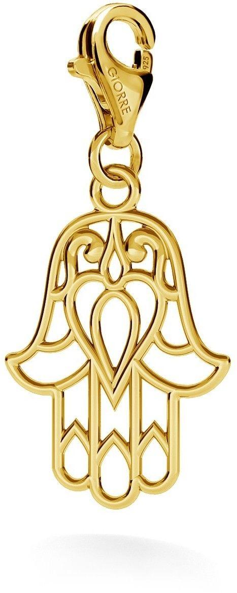 Srebrny charms zawieszka beads hamsa ręka fatimy, srebro 925 : Srebro - kolor pokrycia - Pokrycie żółtym 18K złotem, Wariant - Charms