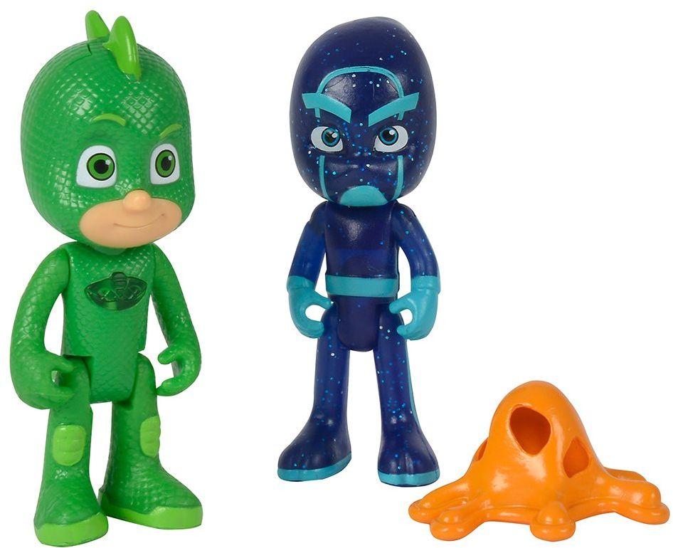 Simba 109402149  PJ Masks zestaw figurek gekon i nocne ninja / pidżama bohater i złe siwo / gekon ze światłem / figurki akcji / ruchome / 8 cm wysokości, dla dzieci od 3 lat