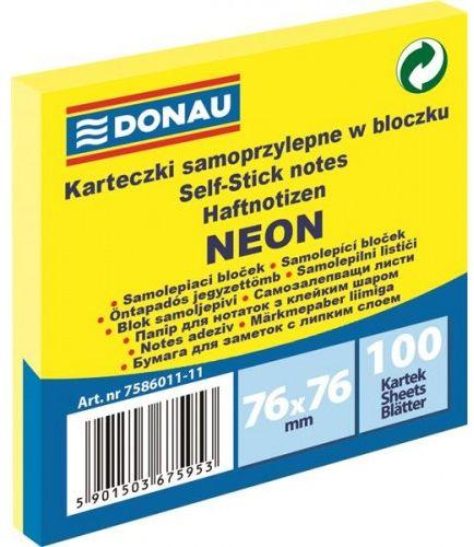 Karteczki samoprzylepne DONAU 76x76mm neonowy żółty (100k) 7586011-11
