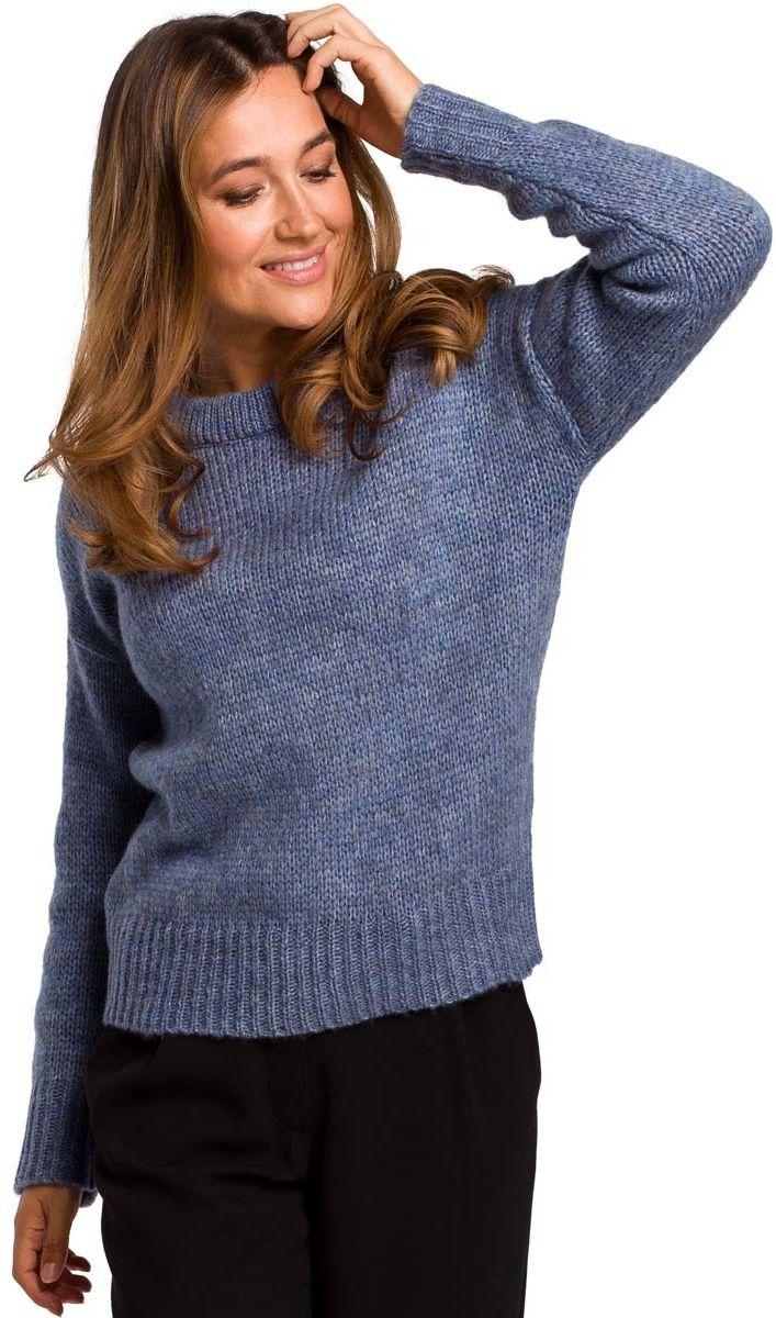 Niebieski klasyczny ciepły sweter