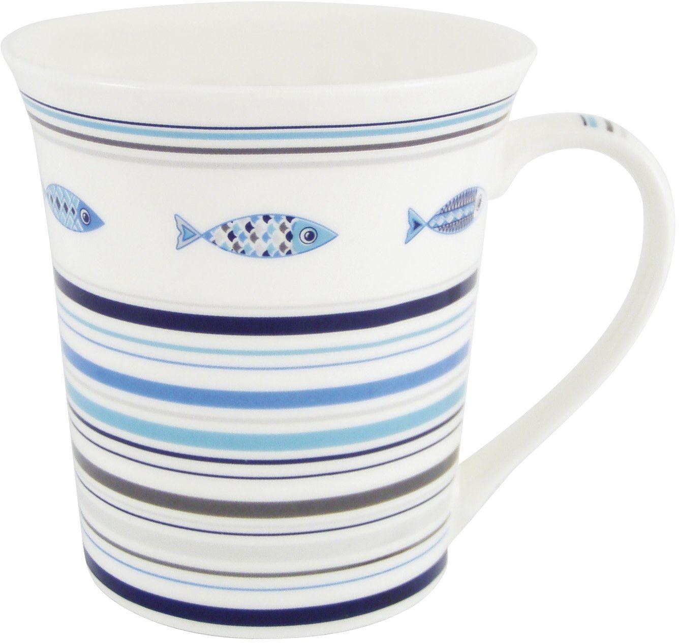 Générique 3007 filiżanka śledzie w jednym etui, porcelana, wys. 10 x śr. 9 cm, ceramika, niebieska, biała, 14 x 11 x 10 cm