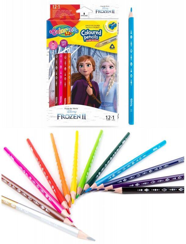 Kredki ołówkowe trójkątne 13 kolorów temperówka Frozen II Colorino 6471-KREDKI13-FROZEN