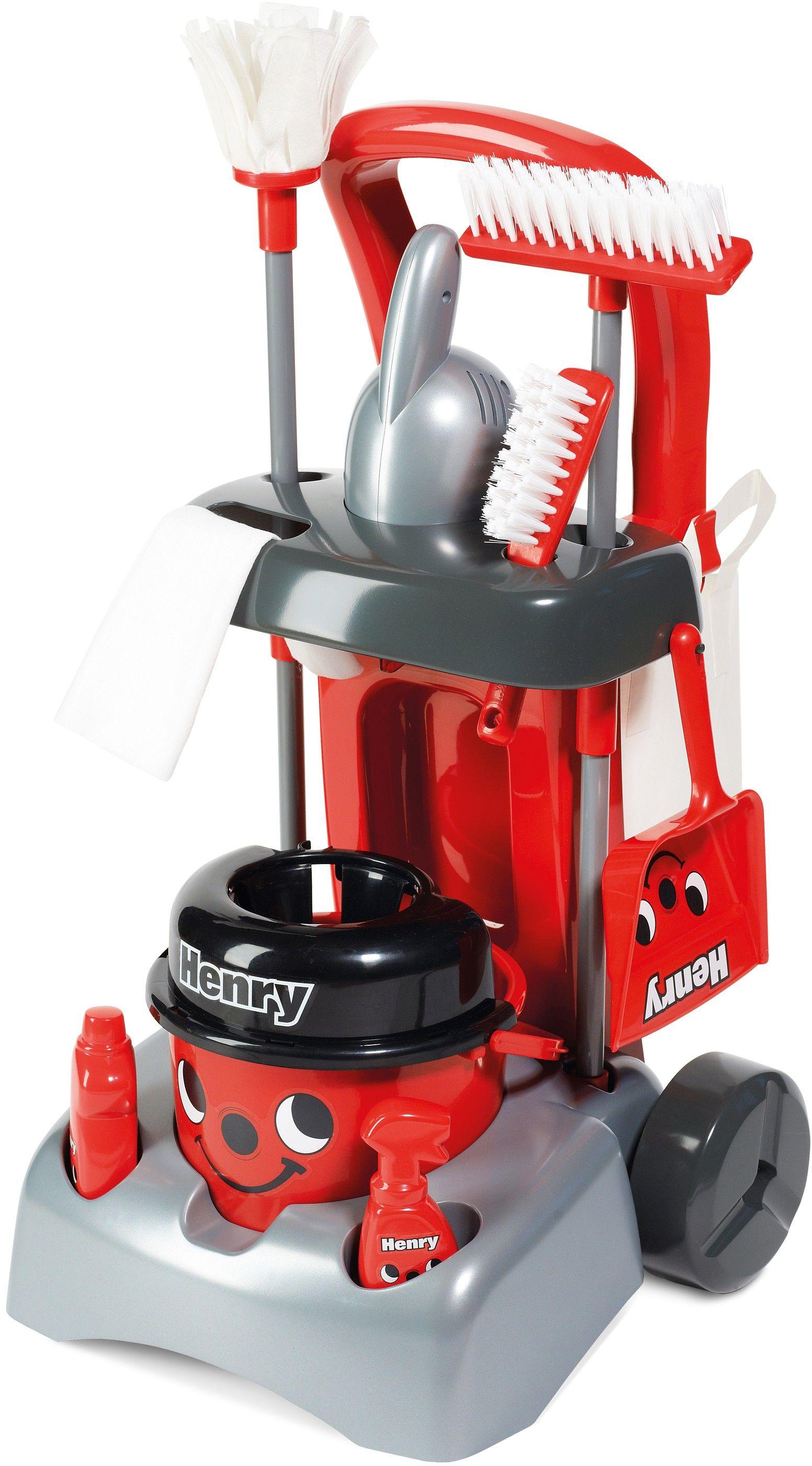Zabawkowy wózek Henry Deluxe z akcesoriami do sprzątania + GRATIS