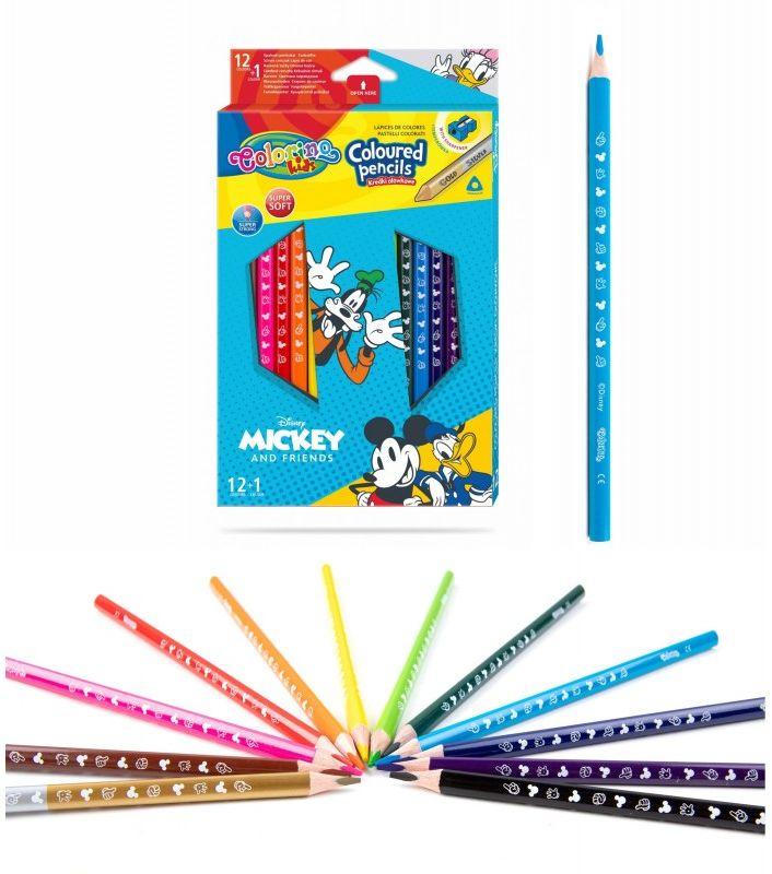 Kredki ołówkowe trójkątne 13 kolorów temperówka Mickey i przyjaciele Colorino 6472-KREDKI13-MICKEY