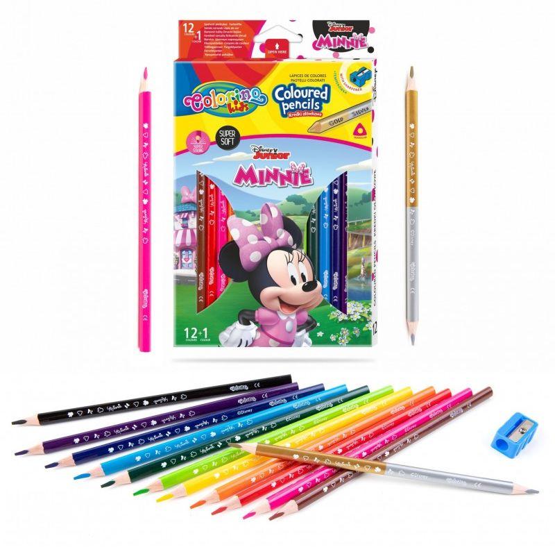 Kredki ołówkowe trójkątne 13 kolorów temperówka Minnie Colorino 6473-KREDKI13-MINNIE
