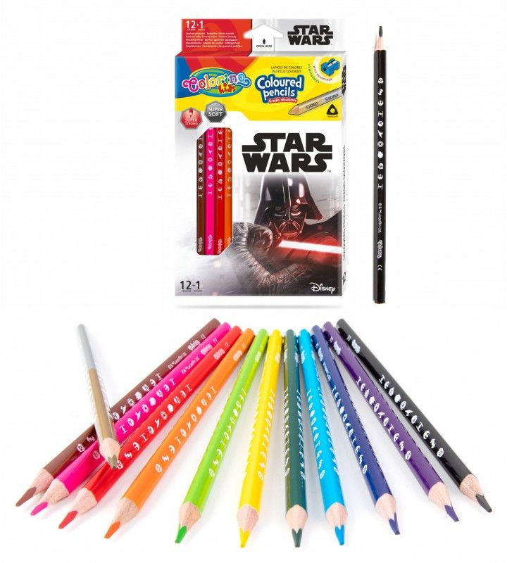 Kredki ołówkowe trójkątne 13 kolorów temperówka Star Wars Colorino 6474-KREDKI13-STARWARS