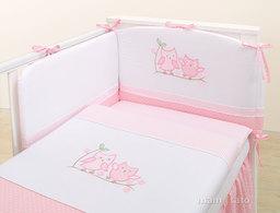 MAMO-TATO pościel 2-el Sówki uszatki różowe do łóżeczka 60x120cm