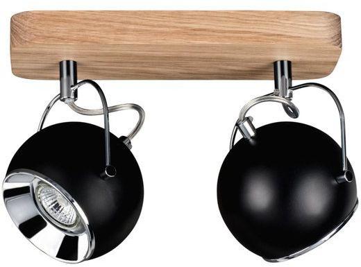 SPOTLIGHT lampa sufitowa BALL WOOD z drewna dębowego z 2 punktami świetlnymi klosz czarny 5133274