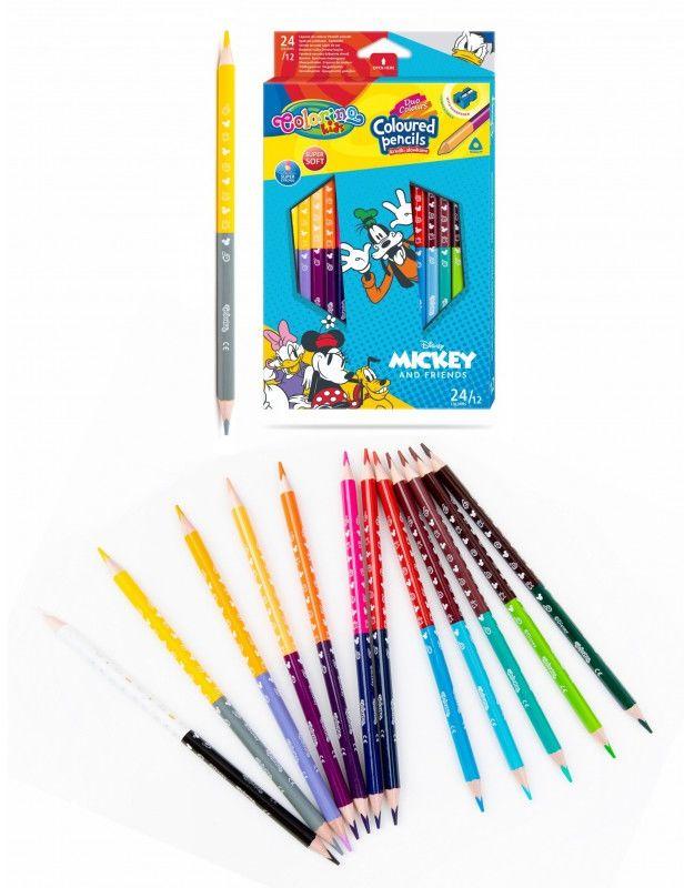 Kredki ołówkowe dwustronne 12 szt 24 kolory temperówka Mickey i przyjaciele Colorino 6477-KREDKI12-24-MICKEY