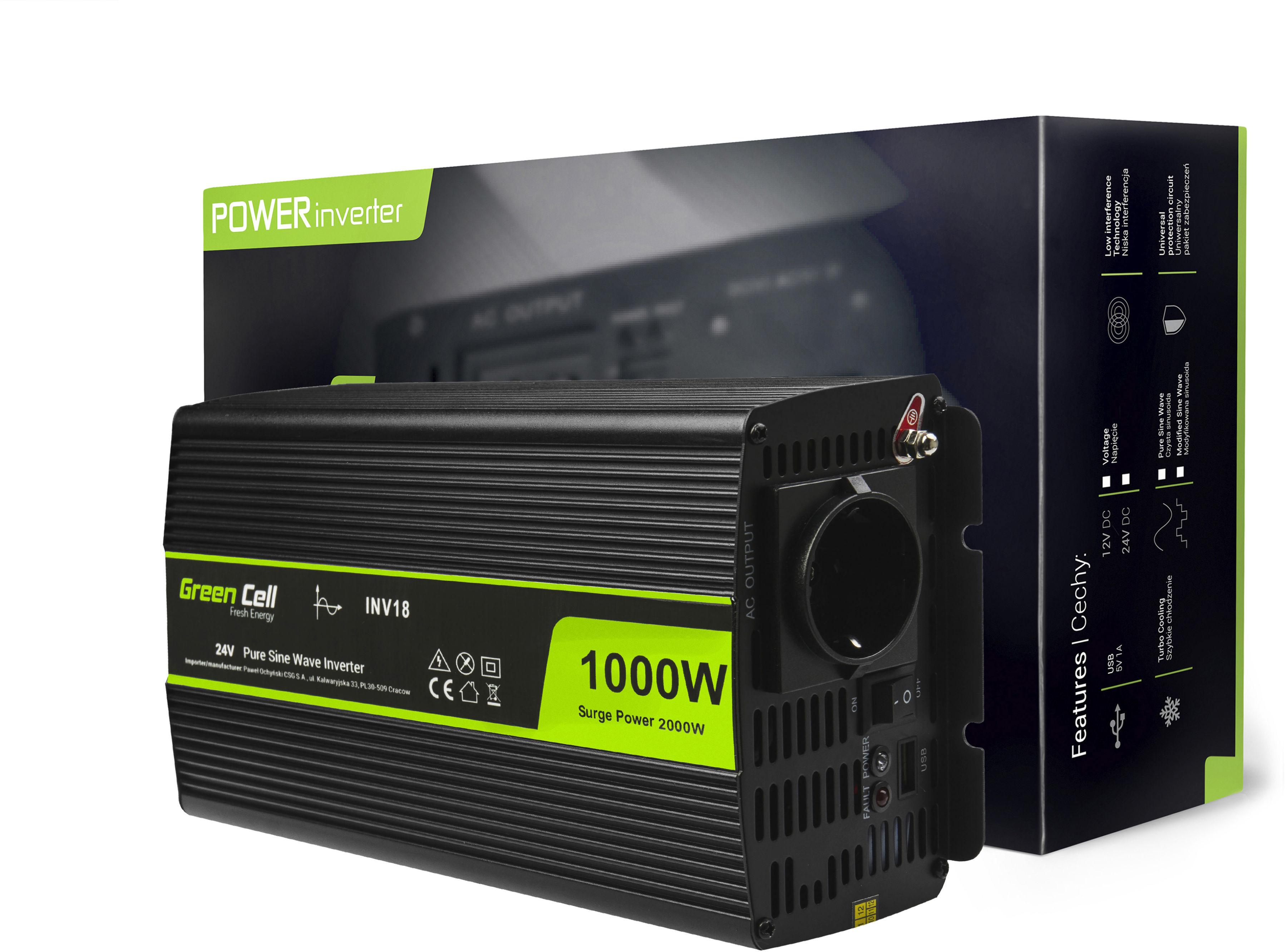 Przetwornica napięcia Inwerter Green Cell 24V na 230V 1000W/2000W Czysta sinusoida