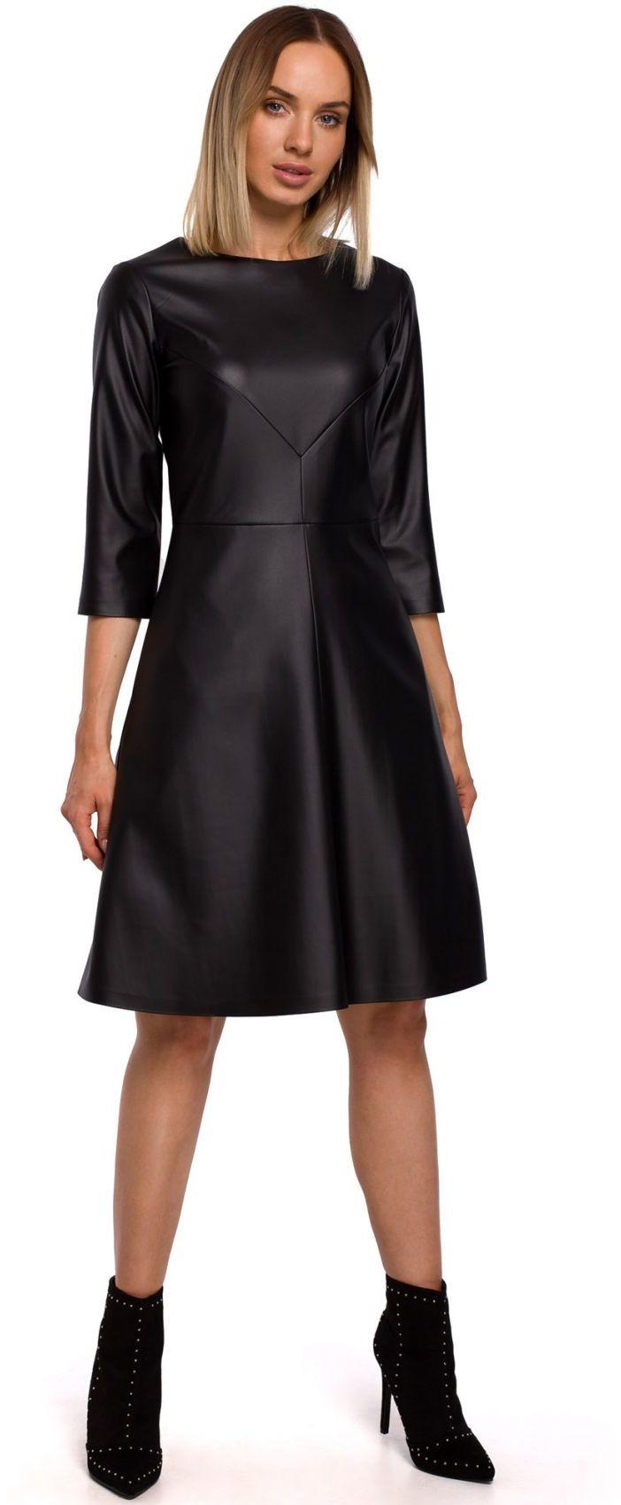M541 Sukienka ze sztucznej skóry - czarna
