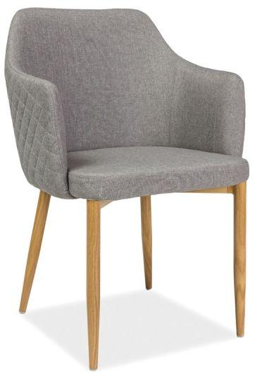 Krzesło ASTOR tapicerowane szarą tkaniną w stylu vintage  KUP TERAZ - OTRZYMAJ RABAT