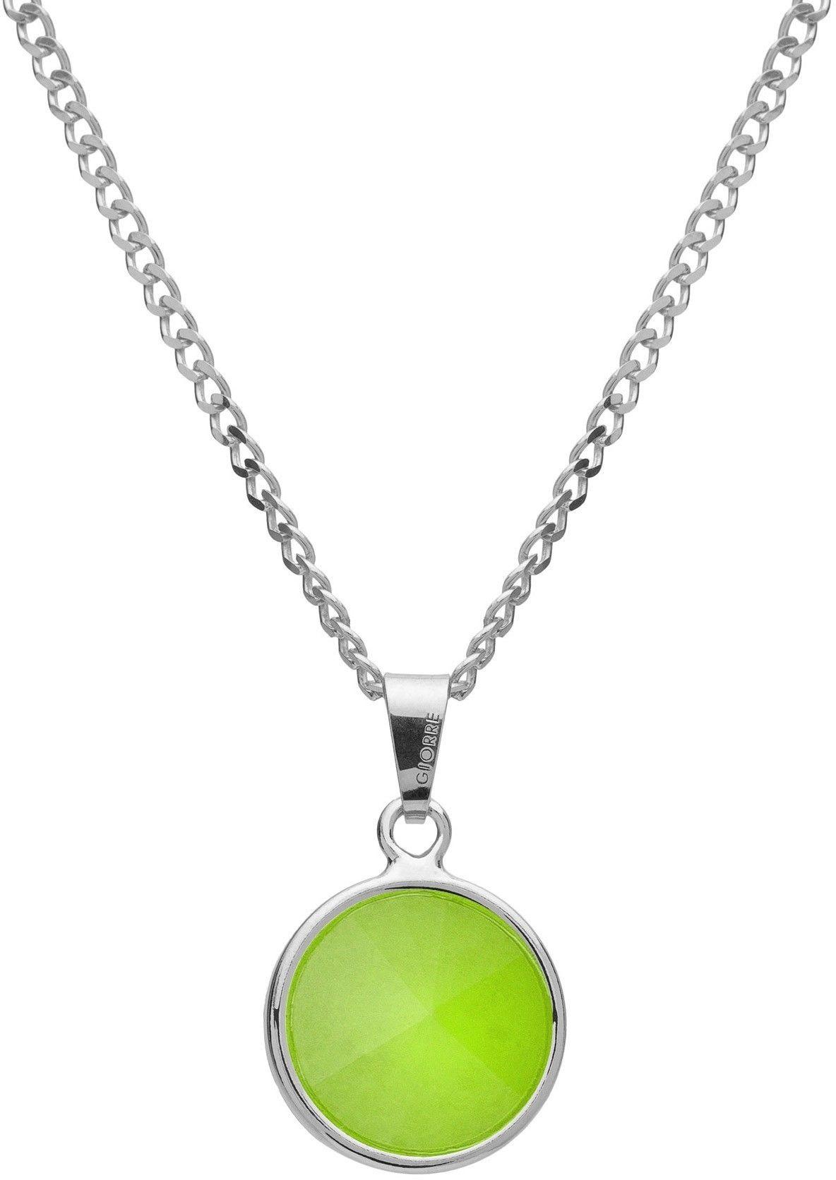 Srebrny naszyjnik z naturalnym kamieniem - chryzopraz srebro 925 : Długość (cm) - 40 + 5 , Kamienie naturalne - kolor - chryzopraz zielony jasny, Srebro - kolor pokrycia - Pokrycie platyną