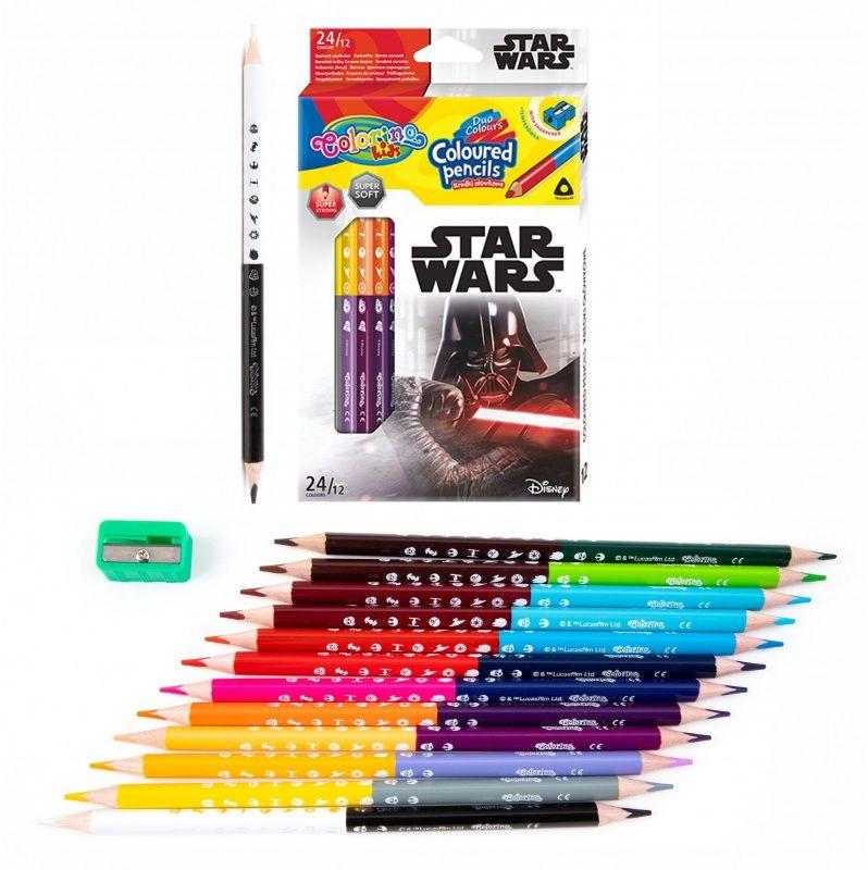 Kredki ołówkowe dwustronne 12 szt 24 kolory temperówka Star Wars Colorino 6478-KREDKI12-24-STARWARS