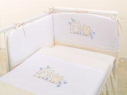 MAMO-TATO pościel 2-el Sówki uszatki biszkoptowe do łóżeczka 60x120cm