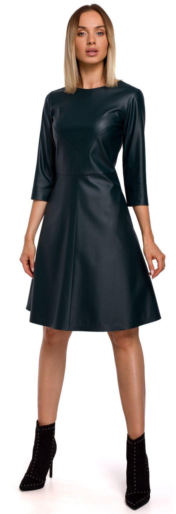M541 Sukienka ze sztucznej skóry - zielona