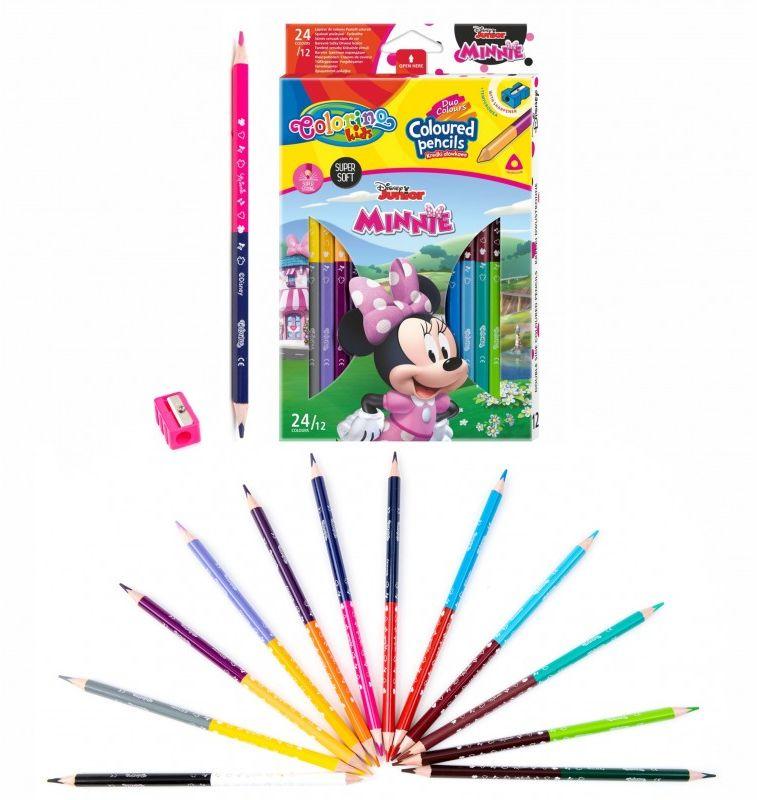 Kredki ołówkowe dwustronne 12 szt 24 kolory temperówka Minnie Colorino 6480-KREDKI12-24-MINNIE