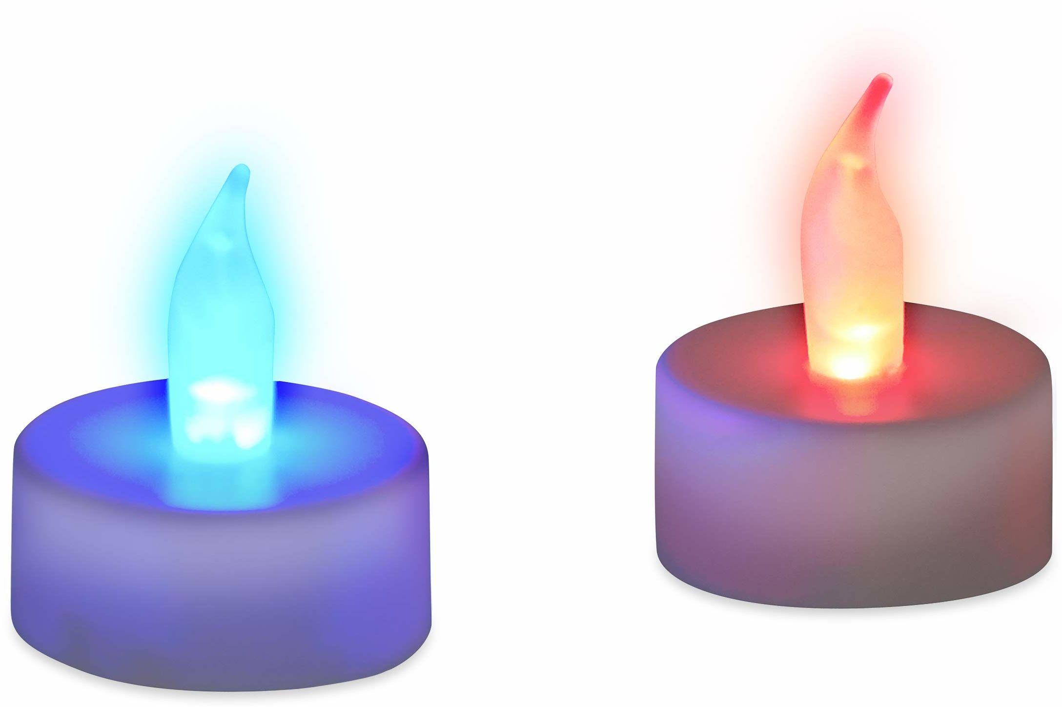 Relaxdays Świecznik typu tealight LED, zmiana kolorów, bezpłomieniowa dekoracja, zestaw 2 sztuk, zasilanie bateryjne, elektroniczne nastrojowe światła, kolorowe