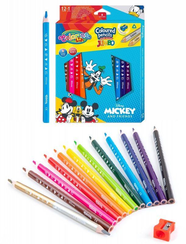 Kredki trójkątne Jumbo 13 kolorów Mickey i przyjaciele Colorino 6481-KREDKI-JUMBO-MICKEY